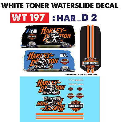 WT197 White Toner Waterslide Decals> HARLEY D 2 > For Custom 1:64 Hot Wheels