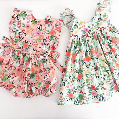Newborn Toddler Baby Girl Flower Ruffle Romper Bodysuit Jumpsuit Outfits Sunsuit