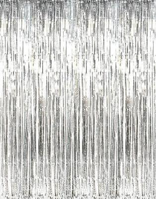 Foil Metallic Fringe Tinsel Curtain Silver Backdrop Door Party Decorations Decor