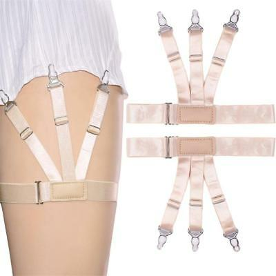 Mens Elastic Garters Non-slip Locking Socks Clamps Suspender Shirt Stays Holders