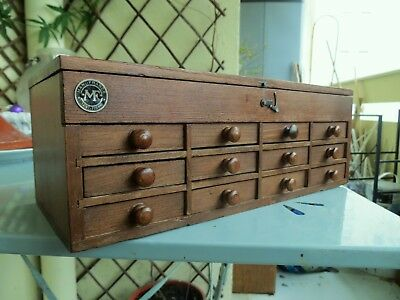 Vintage watchmakers cabinet collectors drawers tool chest sewing box miniature