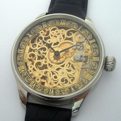 Rare Big ANTIQUE Skeleton OMEGA Swiss Wristwatch in Steel Case