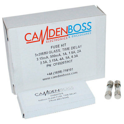 CamdenBoss CF0520T/KIT 5x20mm Glass Time-Delay Fuse Kit (Pack 100)