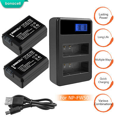 2 x Battery NP-FW50 + Charger for Sony Alpha 7R A3000 A5000 A6000 NEX-5 a6300 PE