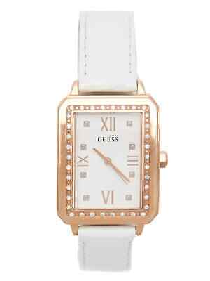 GUESS Factory Women's White and Rose Gold-Tone Analog Watch