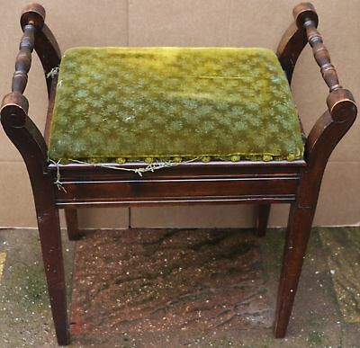 Antique Edwardian Wooden Green Velvet Piano Stool With Lift Up Lid