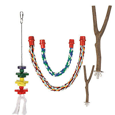 Bird Parrot Cage Wooden Perch, Rope Perch or Toy for bird small parrot