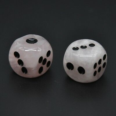 D6 Dice Pair Blood Quartz Gemstone Unique 6 sided Hand Carved Stone w Pouch