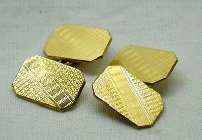 Vintage Lovely Pair Of Art deco 9 Carat Back And Front Cufflinks