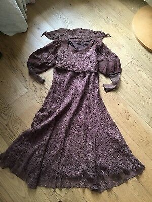 Early 1900s Genuine Antique Brown Lace Dress