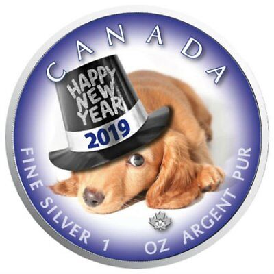 HAPPY NEW YEAR PUPPY – MAPLE LEAF 2019 1 oz Pure Silver Color Coin In Capsule
