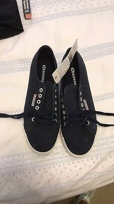 591842577a8d Superga Navy Suede 2790 Lace up Low Top Platform Sneakers 41 1 2 10 NWT
