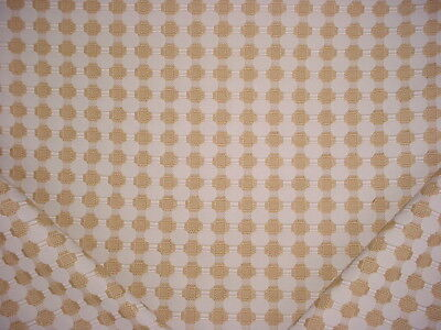1-1/4Y Lee Jofa Embroidered Gold / Linen Lattice Upholstery Drapery Fabric