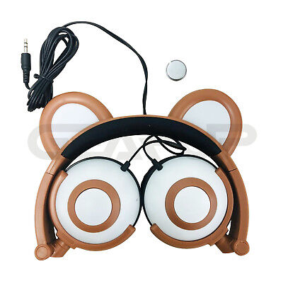 LED Light Up Glowing Kitty Cat Bear Mouse Ear Headphone Wired Wireless Bluetooth