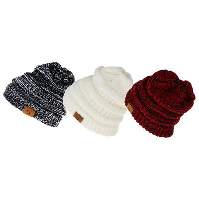 3x Womens Beanie Ponytail Hole Hair Bun Soft Stretch Cable Knit Winter Hat