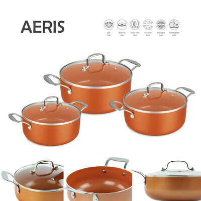 3pc Non Stick Casserole Stock pot Set Oven Safe INDUCTION Cookware Copper AERIS