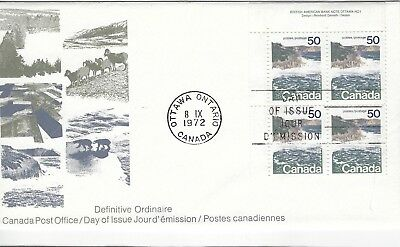 CANADA - #598 - 50c LANDSCAPE DEFINITIVE UL PLATE #1 FIRST DAY COVER (1972) FDC