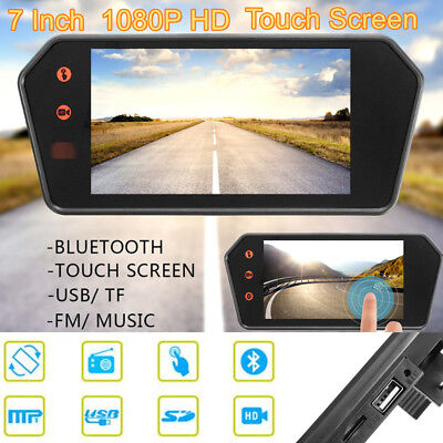 "Universal Car 7"" Touch Screen Rearview Mirror Monitor Contact Bluetooth FM MP5"