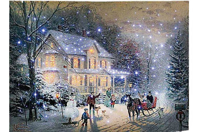 """Home For The Holidays Fiber Optic Wall Tapestry by Kinkade 36"""" x 26"""""""