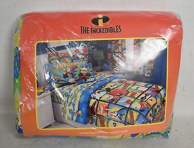 The Incredibles Twin Bed Sheet Wack Zap Pow Set of 3 Fitted Flat Pillowcase New
