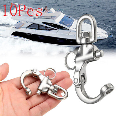 10PCS Boat Anchor Chain Eye Shackle Swivel Snap Hook 316 Stainless Steel