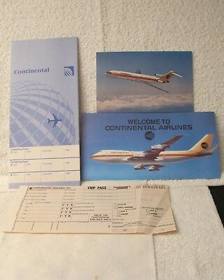Continental Airlines Post Card,  Non rev Brochure,Tix Jacket