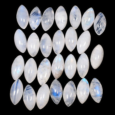 27 Pcs Natural White Rainbow Moonstone Untreated Magnificent Cabochons 14mm/7mm
