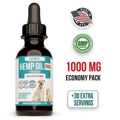 Pet Hemp Oil Anxiety Relief For Dogs Cats 500 mg 100% Organic Reduces Swelling
