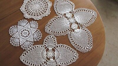 Mixed Lot of 4 Vintage Hand Crochet Doilies for Crafts or Decor