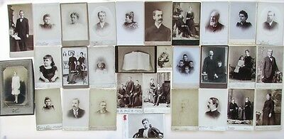 Group Lot: 30 Antique Cabinet Cards Carte de Visite Portrait Photographs & Bible