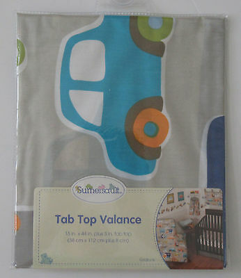 SUMERSAULT Baby Nursery Decor Tab Top Window Valance Gridlock Cars Trucks  NEW