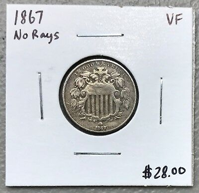 1867 No Rays U.s. Shield Nickel ~ Very Fine Condition! $2.95 Max Shipping! C1024