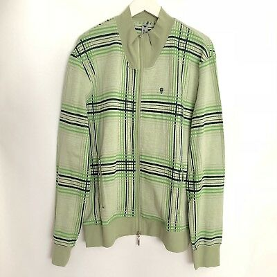 HOT AIR Balloon Brand Zip-up Sweatshirt Green Plaid Men Size XL NWOT $115