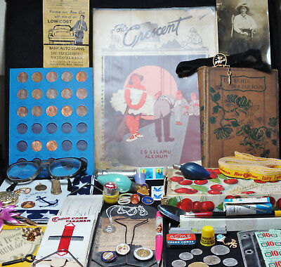 Estate Junk Drawer Smalls Lot-Advertising Coins Shriners Stamps Candy Box Book