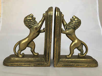 PAIR VINTAGE CAST BRASS BOOKENDS STANDING LIONS Rare Design