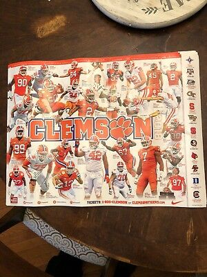 "CLEMSON TIGERS 2018-2019 FOOTBALL POSTER SCHEDULE 18"" X 24"" National Champs Year"