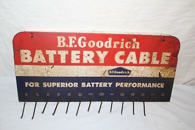 """Vintage 1950's B.F. Goodrich Battery Cable Gas Station 21"""" Metal Sign"""