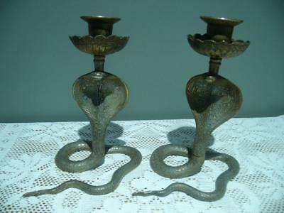Vintage Cobra Candlestick Pair - Brass - Candle Holders - Good Condition
