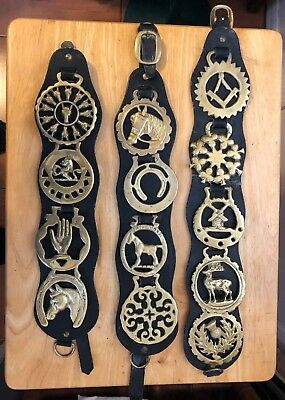 Lot of 13 Vintage Horse Harness Bridle Brass Medallions Black Leather
