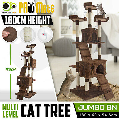 Cat Tree Scratching Post Scratcher Pole Gym House Furniture Multi Level 180cm BN