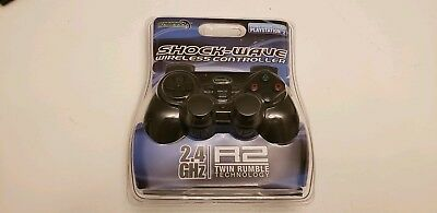 PS2 Wireless 2.4GHZ Shock-Wave Controller For Sony PlayStation 2 Black BRAND NEW