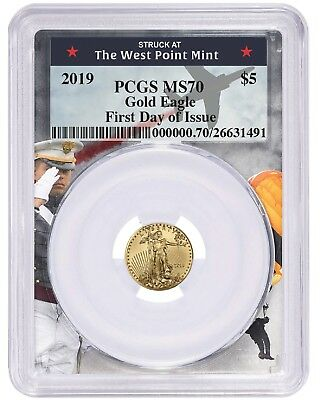 2019 $5 Gold Eagle PCGS MS70 - First Day Issue - West Point Frame