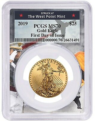 2019 $25 Gold Eagle PCGS MS70 - First Day Issue - West Point Frame