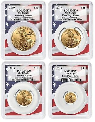 2019 Gold Eagle 4 Coin Set PCGS MS70 - First Day Issue Flag Frame