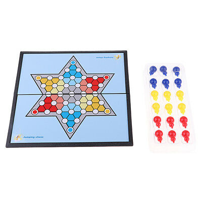 Chinese Checkers Hexagon Checkers Board Game 18 Magnetic Chess Pieces Set