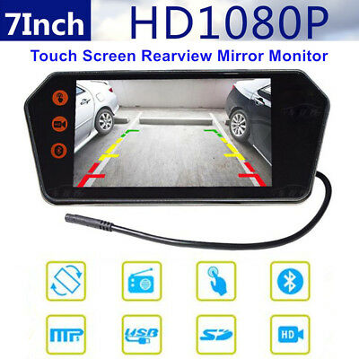 "Car 7"" 1080P Touch Screen Rearview Mirror Monitor Contact USB/TF Bluetooth MP5"