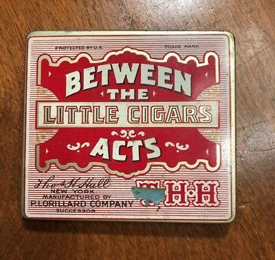 Vintage Cigar Tin Between the Acts Little Cigars RARE Insert Paper Included