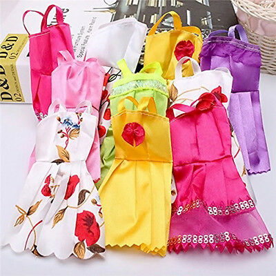 AU_ 10pcs Random Handmade Doll Lace Dresses Clothes for Barbie Dolls Girl Gift