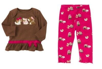 NWT Gymboree Peacock Tee Woodland Floral Leggings Outfit Baby Toddler Girl