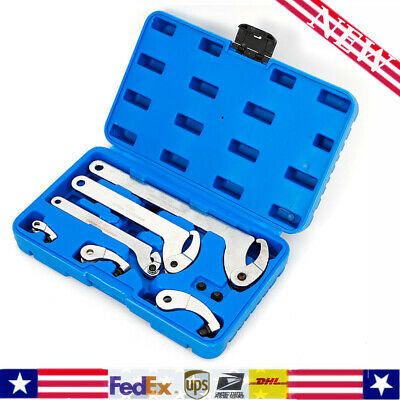 From 35-120mm Adjustable Pin&Hook Spanner Wrench Set For Locking nut ring bear